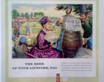 1952 Budweiser Beer Magazine Ad -   Budweiser Beer, Bud, Magazine Ads, Print Ads 1950s, Wall Decor, Vintage Ads, Paper Ephemera