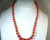 Japanese Red Orange Millefiore Glass Necklace, Graduated Bead with Blue White Yellow Speckles and Clear Seed Bead Spacers, 1950s