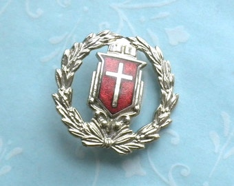 Vintage Laural Wreath and Red Enamel Cross Pin - Silver Tone Brooch
