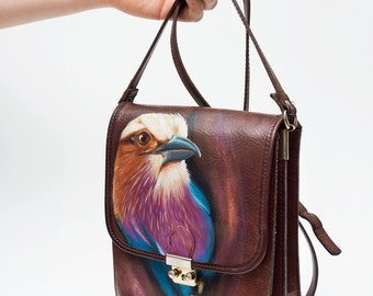 Vintage leather bag 'Lost bird in Costa Rica', hand-painted!