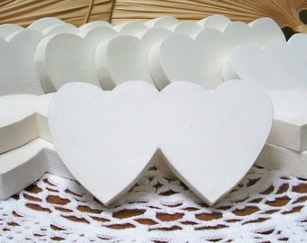 "11 - Hand Painted White Solid Wood Double Hearts 3"" x 5 1/4"" Two Hearts Together! Self Standing - Truly Unique!"