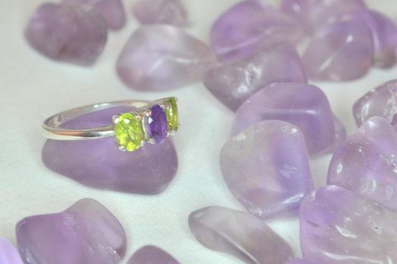 Amethyst & Peridot Silver Ring Size 7