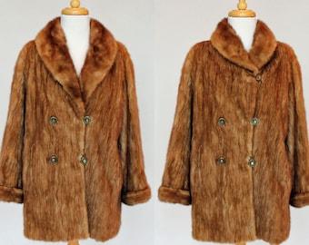60's Mink Jacket / Double Breasted / Shawl Collar / Autumn Haze / Small to Medium