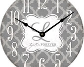 Quatrefoil Print 12 inch Clock Personalized with Monogram Wedding gift, Baby Shower, Housewarming