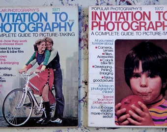 Invitation To Photography 70s lot of 2 magazines howtos movies still photographs equipment analogue tech advertisements art prints ephemera