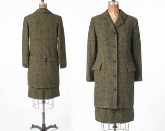 1940s Tweed Wool Suit, Briarbrook Leslie Fay, Moss Green, Long Jacket and Pencil Skirt, Woman's Clothing. Suits