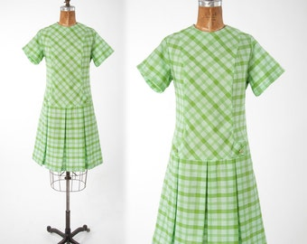 1960s Back To School Dress, Vintage Green Cotton Plaid Shift, Day Dress with Low Waist, Deadstock