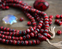 Deep Red: 8mm Yak Bone Beads from Nepal, inlaid with Turquoise, Coral and Wire, 10 beads, Malas, Yoga, Boho, Tribal, Prayer Beads / Supplies