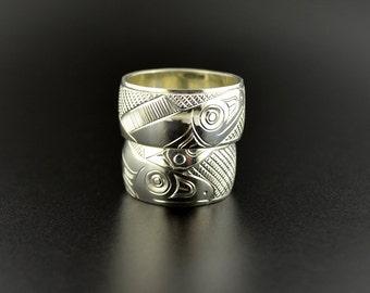 matching yin yang wedding band northwest native american stacking salmon design - Native American Wedding Rings