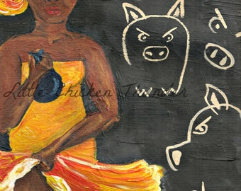 Pearls Before Swine Giclee Print on Archival Paper, Biblically Inspired Art, Colorful Painting of African Woman Running