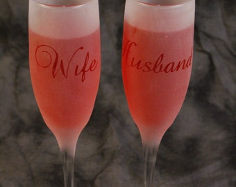 Baroque script Husband and Wife Marriage Wedding Anniversary Toasting Champagne Flute
