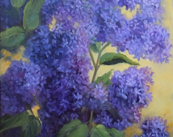 Floral Painting,Still Life, Purple Spring Lilacs, 14x18 Original Oil Painting by Cheri Wollenberg