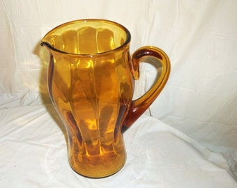 """Vintage Glass Drink Pitcher Optic Panel Amber 8"""" Cambridge Water Cocktail Pitcher Mid Century"""