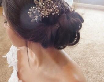 Antique Silver Hair comb, Bridal hair comb, Leaf Wedding headpiece, Bridal jewelry, Swarovski crystal hair comb, Hair accessory, Vintage