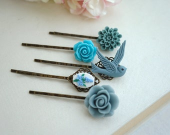 Shabby Blue Flower Bobby Pins, Floral Hair Accessories, Flying Bird, Dusty Blue Rose, Turquoise Blue, Floral Blue, Set of Five (5)