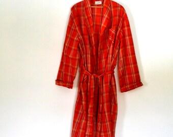 60s Mens Robe BVD Neva Press Plaid Robe Poly Cotton Blend