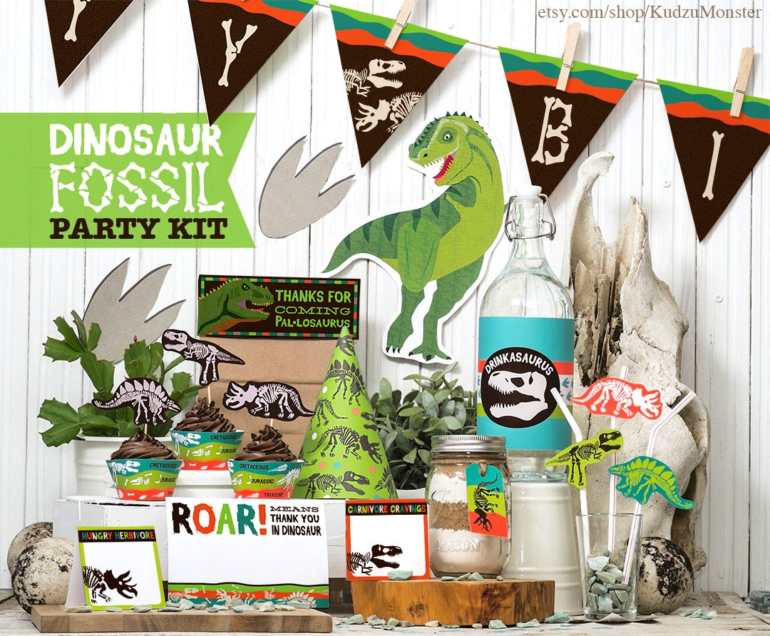 Dinosaur Fossil Party Printable kit Birthday decor banner