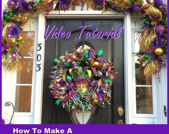 Video How To Make a Deco Mesh Mardi Gras GARLAND Full Length Downloadable Video