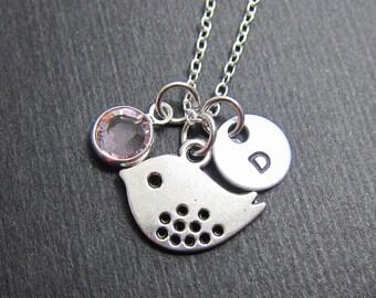 Sparrow Bird Necklace - Personalized Baby Bird Initial Name, Customized Swarovski crystal birthstone