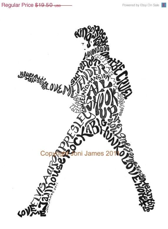 Elvis Presley Art Calligram Typography Drawing, Elvis Art Portrait Calligraphy Illustration, Famous Musicians Art Prints