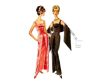 60s Pauline Trigere Evening Gown Pattern McCall's 6033, Stunning Sleeveless Dress with Stole, Fitted Bodice, Overskirt, Bust 32 Uncut