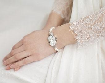 Wedding Bracelet ,Bridal Bracelet, White Opal Crystal Bracelet , Pearl Bracelet, Bridal Wedding Jewelry
