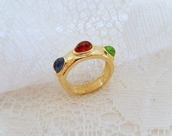vintage ring, 18KT gold filled, multi stone ring, vintage jewelry, ladies size 7,  fashion ring