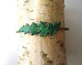 Green Leaf Bracelet, Verdigris Patina, Nature, Woodland Bracelet, Gardener, Naturalist