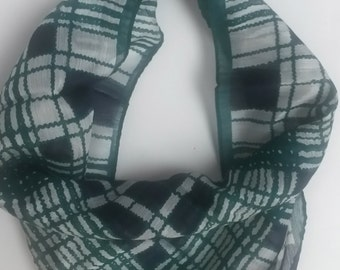 "ELABORATE GREEN PLAID scarf, 20.5"" by 20.5"" inches square, made in Japan, Rayon and Nylon blend, complex plaid weave"