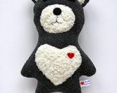 Grey and Yellow Bear - BabySafe - Valentine Bear - Stuffie - Stuffed Animal - Plushie