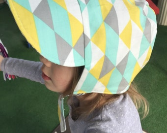 GEO STRIPES-an organic cotton, just for him, reversible Baseball Cap Bonnet, from Bella Sol Bebe