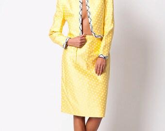 The Vintage Carolina Herrera Yellow Polka Dot Two Piece Suit Set