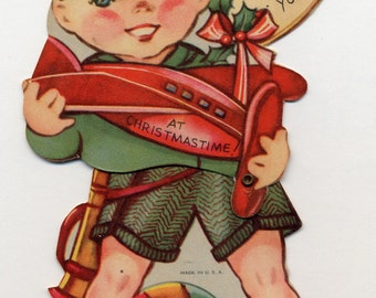 Vintage Little Boy with Toy Plane Christmas Card