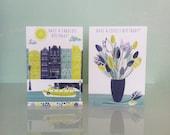 Amsterdam Birthday Card // Amsterdam House Birthday Card // Canal Boat Birthday Card // Tulips Greetings Card