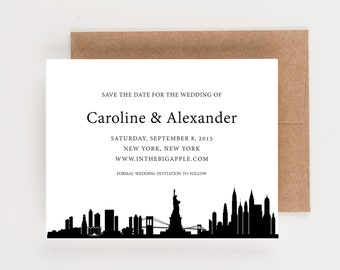New York City Skyline Save The Date, Destination Wedding