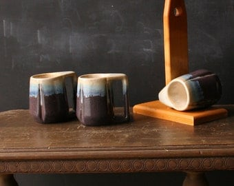 Set of Four Vintage Mugs With Stand Purple and Blue Ceramic Oak Stand From Nowvintage on Etsy