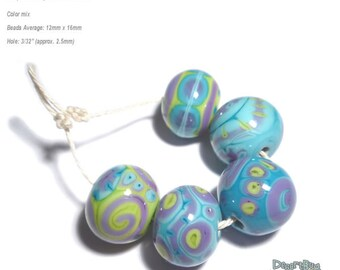 ALIEN BOBS Handmade Lampwork Beads Turquoise Blue Purple Lime Green -  Set of 5