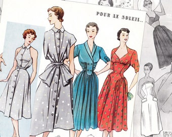 "PDFs of 50s Parisian sewing pattern catalogs - ""Primerose"" Vol.2 - instant download - 40 pages"