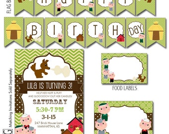Digital Printable Editable Three Little Pigs Birthday Party Package for Boys or Girls - Instant Download Files