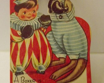 Vintage Mechanical Valentine Card Girl with a Clown boxing with a Kangaroo