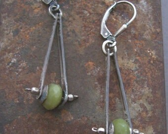 Pendulum Earrings, Jade Earrings, Sterling Silver and Jade Earrings, Olive Green Jade Earrings.