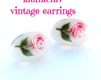 Earrings, Vintage Lucite Reverse Carved Rose Earrings, Floral Pink Spring Jewelry kiamichi7