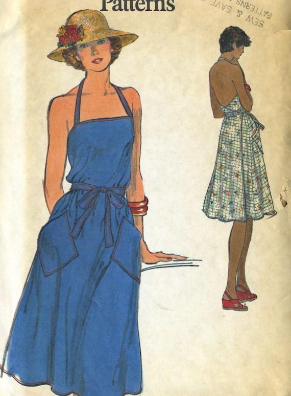 vintage 70s vogue 9186 misses wrap apron dress sewing pattern