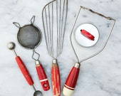 Vintage Kitchen Tool Collection / Red and Ivory