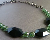 Holiday Statement Necklace -- Green Gold and Black Glass with Adjustable Brass Chain -- babblingbrookes