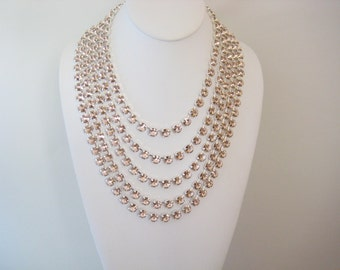 Swarovski Crystal Necklace, 16 Inch 39 Stone 39ss Vintage Rose Crystal Rhinestones, Anna Wintour Inspired, Big Stones Layering Necklace
