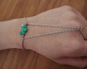 Turquoise and Rose Pyrite Hand Chain