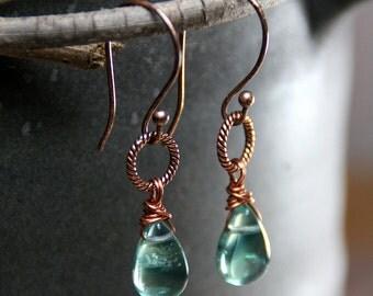 SALE - Fluorite Teardrop Briolette Dangles on Twisted Copper Hoops ~ Earrings