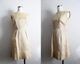 1960s Gold Metallic Cream Paisley Satin Dress
