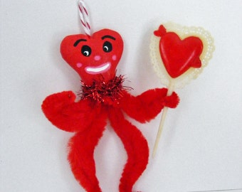 Vintage Style Valentines Day Chenille Feather Tree Ornament Heart Love Man OOAK